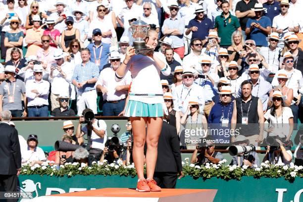 Winner of the Women Final Jelena Ostapenko poses with her Cup after the Women Final of the 2017 French Tennis Open Day Fourteen at Roland Garros on...