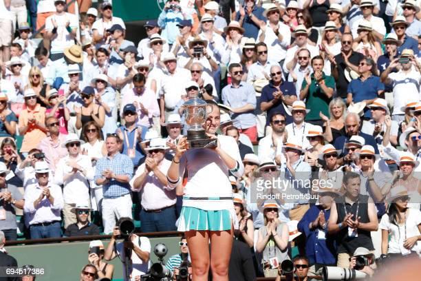 Winner of the Women Final, Jelena Ostapenko poses with her Cup after the Women Final of the 2017 French Tennis Open - Day Fourteen at Roland Garros...