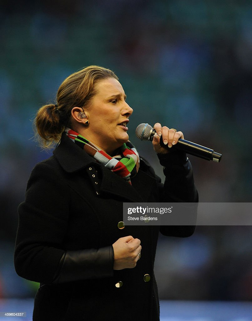 Winner of the X Factor 2013, Sam Bailey sings before the Aviva Premiership match between Harlequins and Exeter Chiefs at Twickenham Stadium on December 28, 2013 in London, England.