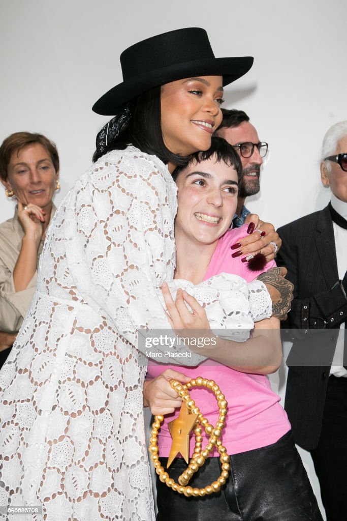 Winner of the 'Young Fashion Designer' LVMH Prize 2017, Stylist Marine Serre (R) is congratuled by singer Rihanna (L) during the 'Young Fashion Designer' : LVMH Prize 2017 Edition at Fondation Louis Vuitton on June 16, 2017 in Paris, France.
