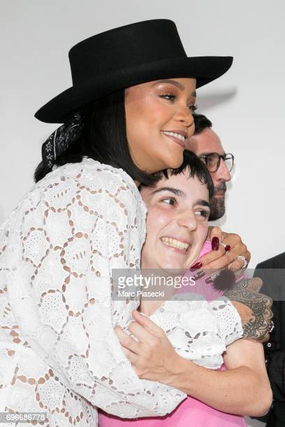 Winner of the 'Young Fashion Designer' LVMH Prize 2017 Stylist Marine Serre is congratuled by singer Rihanna during the 'Young Fashion Designer' LVMH...