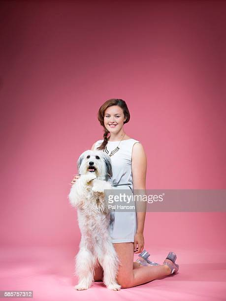 Winner of tv talent show Britain's Got Talent 2012 dog trainer Ashleigh Butler is photographed with Pudsey for the Independent on May 6 2014 in...
