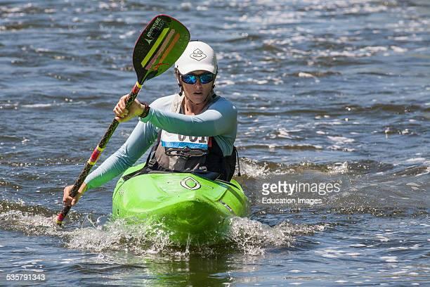 Winner of Women's Advanced classification: Liz Blackball. The 1st annual LA River Boat Race held on August 30, 2014 on a course along a stretch of...