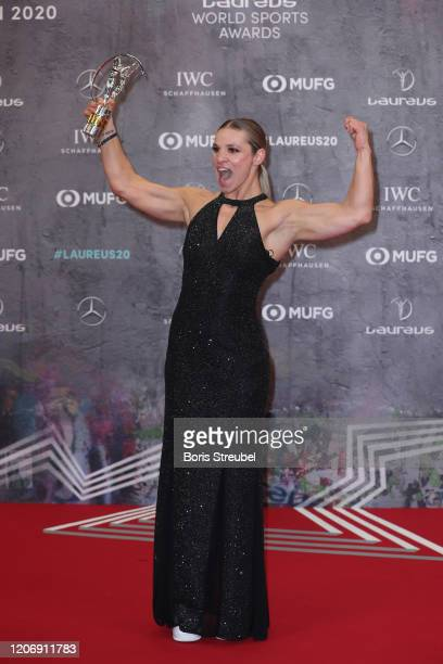 Winner Oksana Masters poses with her Laureus World Sportsperson of the Year with a Disability award during the 2020 Laureus World Sports Awards at...