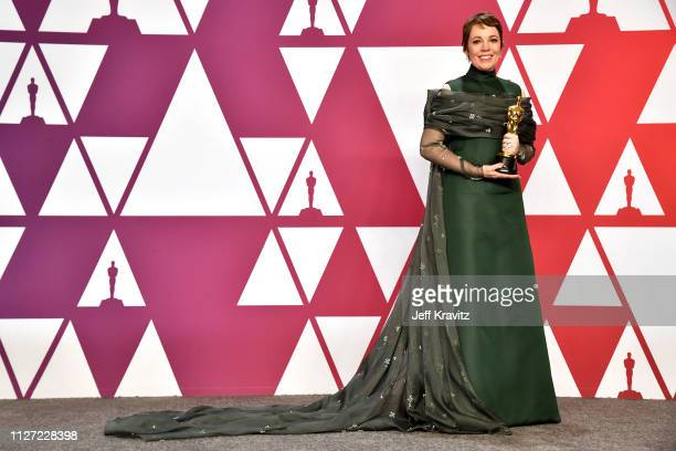 Winner Olivia Colman with the Best actress award for the film 'The Favourite' poses in the press room during at Hollywood and Highland on February 24...