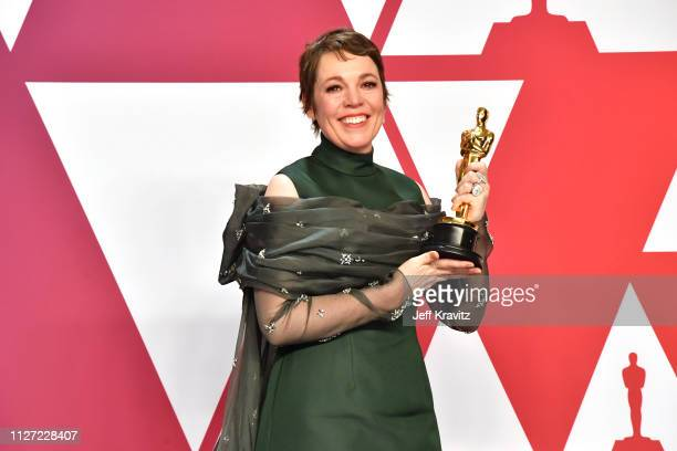 Winner Olivia Colman with the Best actress award for the film 'The Favourite' poses in the press room during at Hollywood and Highland on February...