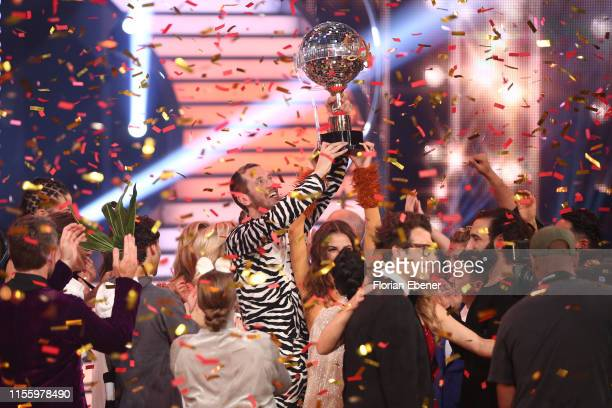 Winner Pascal Hens is seen on stage during the finals of the 12th season of the television competition Let's Dance on June 14 2019 in Cologne Germany
