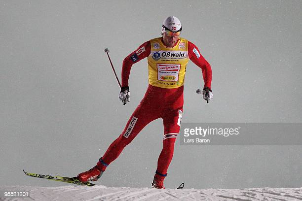 Winner Petter Northug of Norway competes during the Men's 3,7km Prologue of the FIS Tour De Ski at the DKB Arena on January 1, 2010 in Oberhof,...