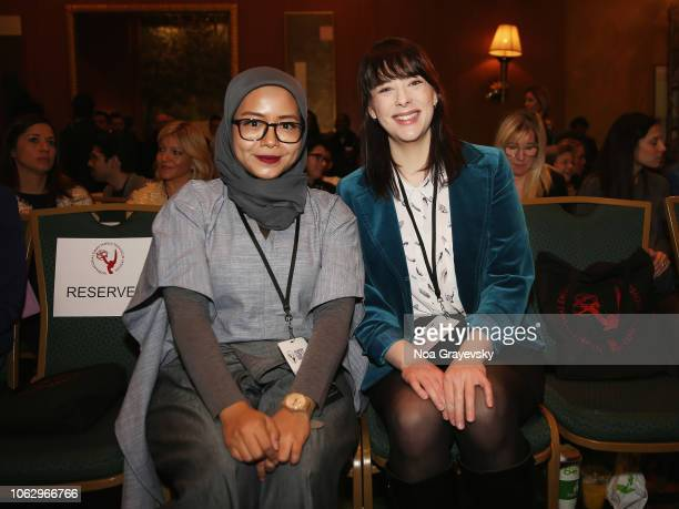 Winner Puti Puar and 2018 Sir Peter Ustinov Television Scriptwriting Award Winner Lexi Savoy attends the Young Creatives Awards Ceremony on November...