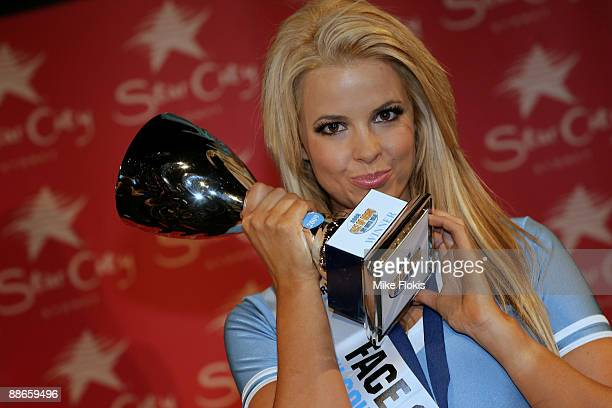 Winner Rachel Burr poses with her trophy during the 'Face of Origin' competition at Star City on June 24, 2009 in Sydney, Australia.