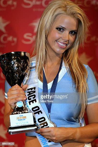 Winner Rachel Burr poses with her trophy during the 'Face of Origin' competition at Star City on June 24 2009 in Sydney Australia