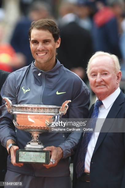 Winner Rafael Nadal of Spain and Rod Laver during the trophy ceremony of the men's final during day 15 of the 2019 French Open at Roland Garros...