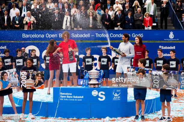 Winner Rafael Nadal of Spain and Stefanos Tsitsipas of Greece celebrate their results after their final match during day seven of the Barcelona Open...