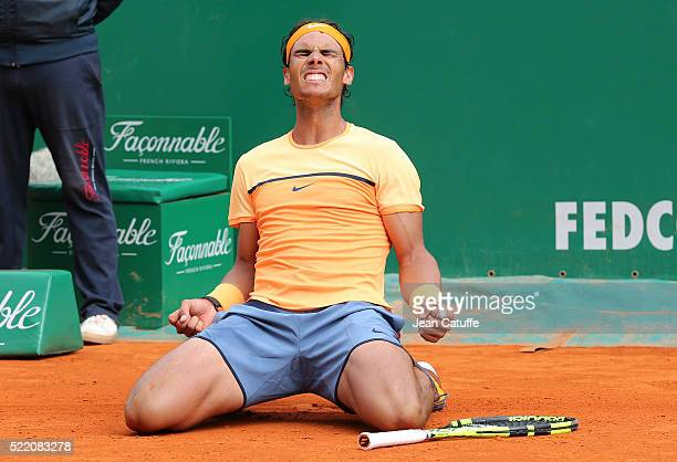 Winner Rafael Nadal of Spain celebrates winning the 2016 MonteCarlo Rolex Masters at MonteCarlo Country Club on April 17 2016 in MonteCarlo Monaco