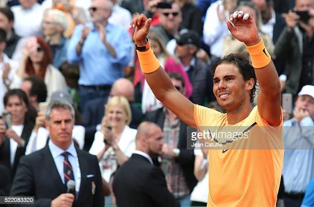 Winner Rafael Nadal of Spain celebrates winning the 2016 MonteCarlo Rolex Masters at MonteCarlo Country Club on April 17 2016 in MonteCarlo Monaco