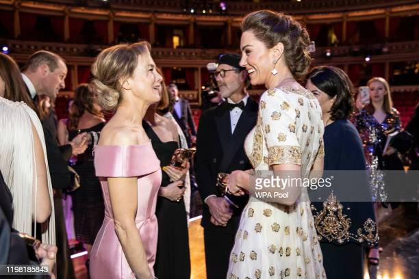 BAFTA winner Renee Zellweger and Catherine Duchess of Cambridge speak at the EE British Academy Film Awards 2020 at Royal Albert Hall on February 2...