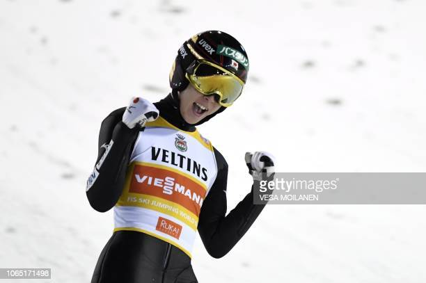 Winner Ryoyu Kobayashi of Japan celebrates after the second round of the Men's Ski Jumping HS 142 Final at FIS Nordic Skiing World Cup in Ruka...