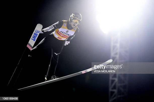 Winner Ryoyu Kobayashi of Japan competes during the Men's Ski Jumping HS 142 Final at FIS Nordic Skiing World Cup in Ruka Finland on November 25 2018...