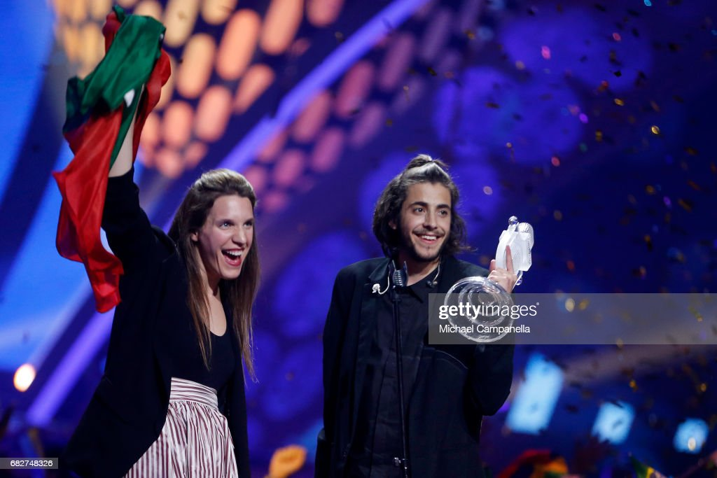 Winner Salvador Sobral, representing Portugal, and his sister Luisa Sobral pose with his award during the final of the 62nd Eurovision Song Contest at International Exhibition Centre (IEC) on May 13, 2017 in Kiev, Ukraine.