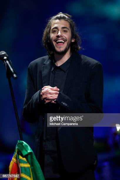 Winner Salvador Sobral representing Portugal celebrates during the final of the 62nd Eurovision Song Contest at International Exhibition Centre on...