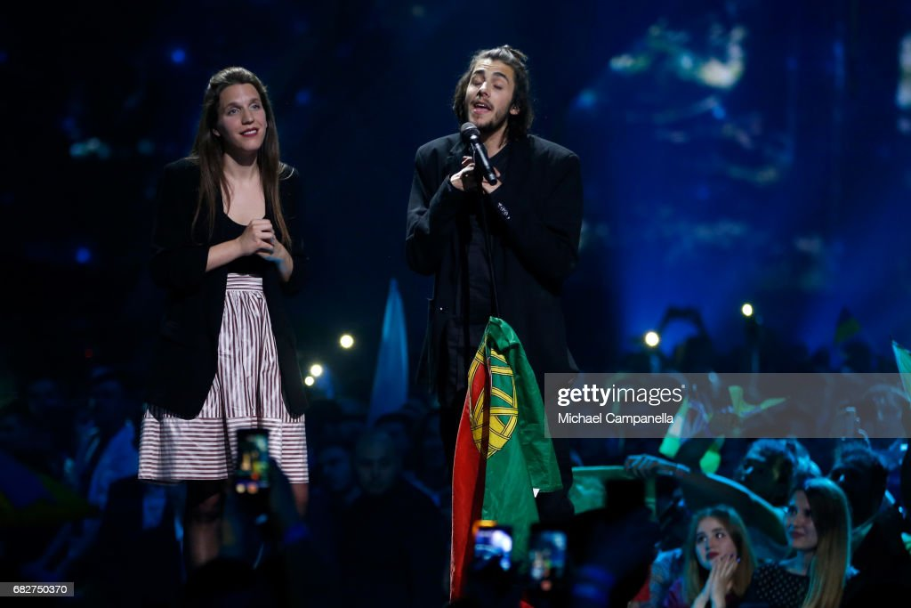 Winner Salvador Sobral, representing Portugal, performs his song 'Amar Pelos Dois' again together with his sister Luisa Sobral during the final of the 62nd Eurovision Song Contest at International Exhibition Centre (IEC) on May 13, 2017 in Kiev, Ukraine.