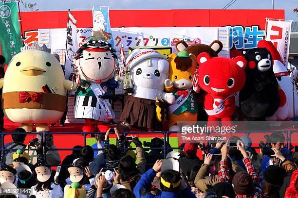 Winner 'Sanomaru' and other characters are seen at the YuruKyara Garnd Prix 2013 during the YuruKyara Summit 2013 at Hanyu Suigo park on November 24...