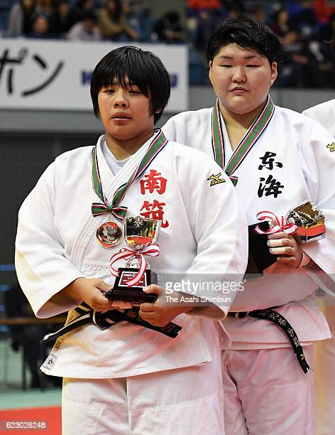 Winner Sara Asahina and runnerup Akira Sone are seen during the award ceremony for the Women's 78kg during day one of the Kodokan Cup All Japan Judo...