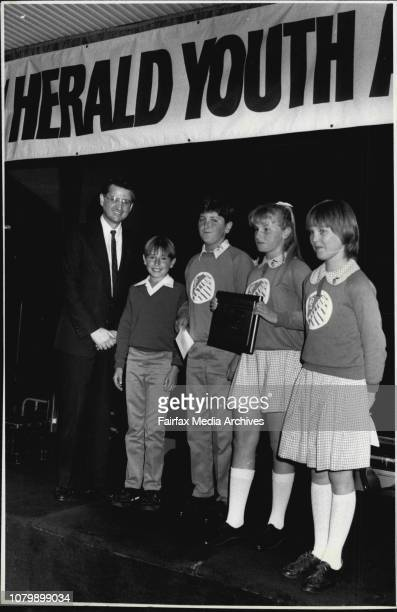 Winner - School Groups; Tatton Public School, Wagga with Minister Aquilina. October 23, 1987. .