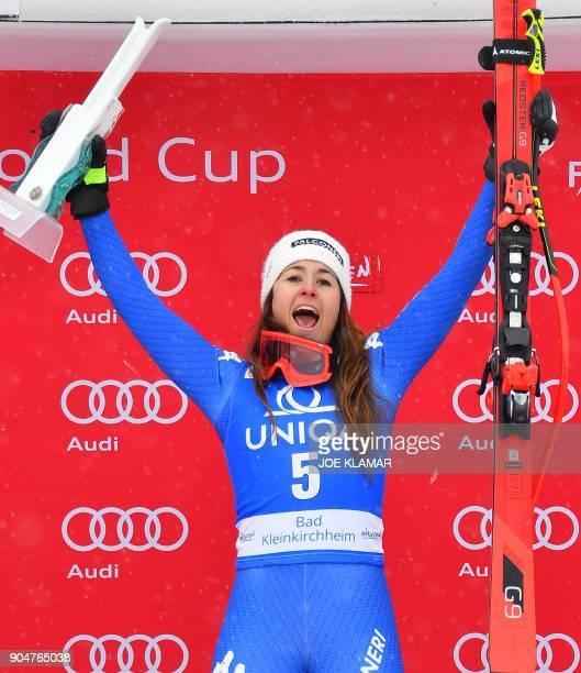 Winner Sofia Goggia of Italy celebrates on the podium of the FIS Alpine World Cup Women downhill competition in Bad Kleinkirchheim Austria on January...