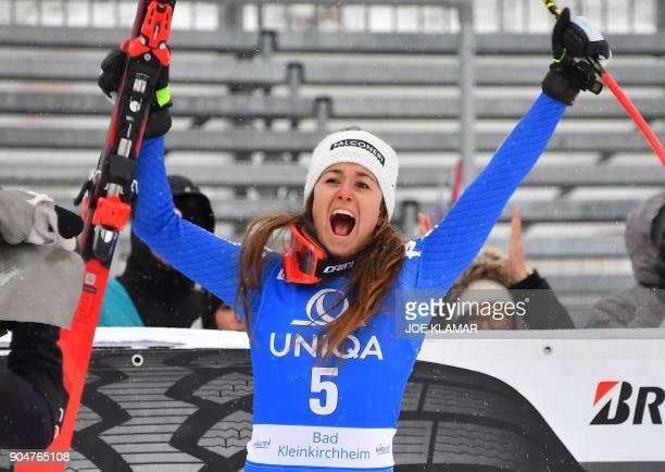 Winner Sofia Goggia of Italy celebrates winning the FIS Alpine World Cup Women downhill competition in Bad Kleinkirchheim Austria on January 14 2018...