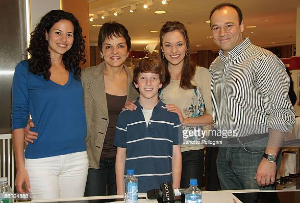Winner Spencer Milford , from St. Louis with Judges Actors Mandy Gonzalez, Priscilla Lopez, Laura Osnes and Danny Burstein attend the Sing For Your...