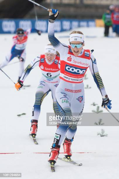 Winner Stina Nilsson of Sweden reacts as she wins the Women's Sprint Free event at the FIS Cross Country World Cup on January 12 2019 in Dresden...