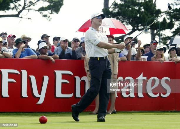 Winner Sweden's Niclas Fasth tees off on the Emirates sponsored 14h hole on his way to winning the Holden New Zealand Golf Open played at the Gulf...