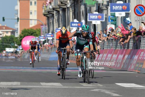 Winner Team Bora rider of Italy Cesare Benedetti seen reacting as he crosses the finish line during the 102nd Giro d'Italia 2019 Stage 12 a 158km...