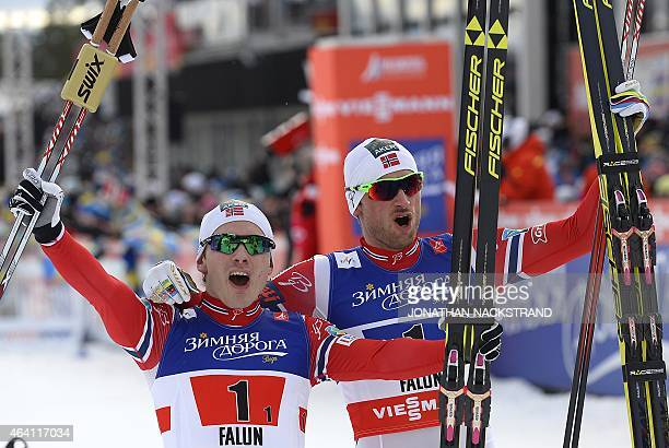 Winner Team Norway's Petter Jr Northug and Finn Haagen Krogh react after the men crosscountry 6 x14 km free team sprint final during the 2015 FIS...