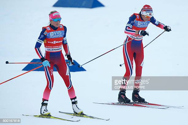 Winner Team Norway's Therese Johaug and Heidi Weng in action during the 4x5 km realy women crosscountry event at the FIS ski World Cup on December 6...