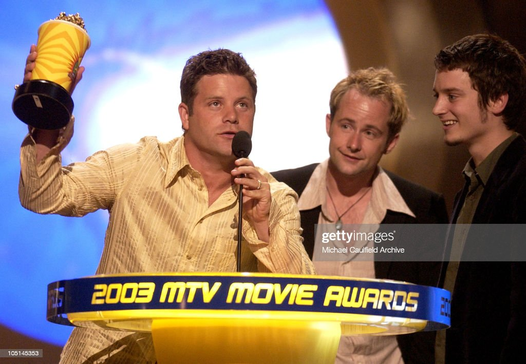 Winner the 'Lord of the Rings: The Two Towers' for Best Movie stars Sean Astin, Billy Boyd and Elijah Wood