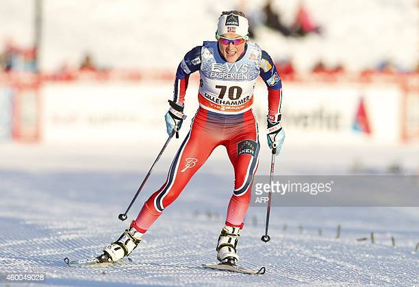 Winner Therese Johaug from Norway competes in the World Cup Cross Country women's 5km sprint at Lillehammer Norway on December 6 2014 AFP PHOTO / NTB...