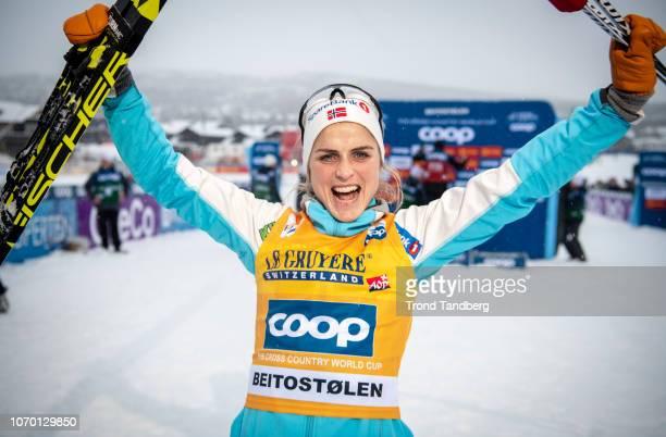 Winner Therese Johaug of Norway after Ladies 150 km Individual Free at Beitostoelen Skistadion on December 8 2018 in Beitostoelen Norway