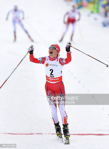 Winner Therese Johaug of Norway at the finnish line after the ladies crosscountry skiathlon 75 km classic and 75 km free race during the 2015 FIS...
