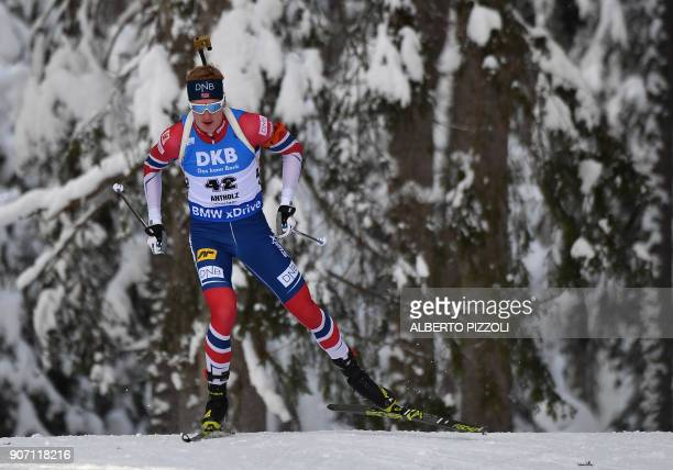 Winner Thingnes Johannes Boe of Norway competes in the Men's 10km sprint competition of the IBU World Cup Biathlon in Anterselva on January 19 2018...