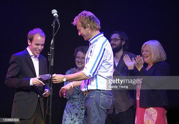 Winner Tom Allan presnted award by Julian Clary with runners up Sarah Millican Joe Wilkinson and Karen Korren