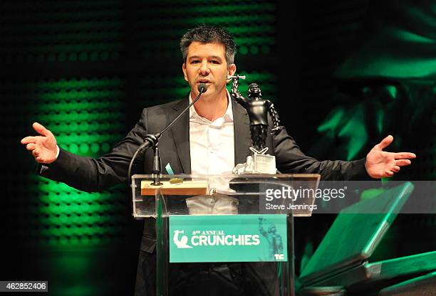 Winner Travis Kalanick of Uber collects the award for Best Overall Startup of 2014 at the TechCrunch 8th Annual Crunchies Awards at the Davies...