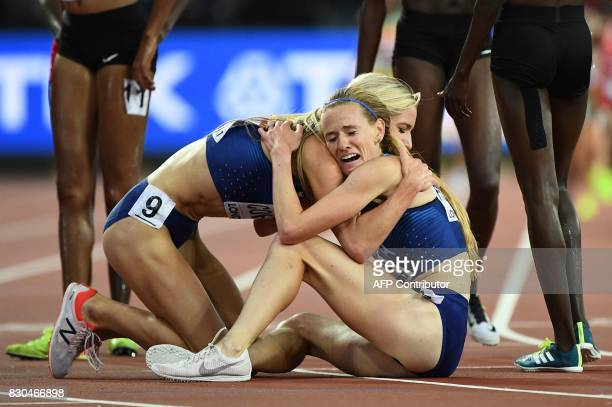 Winner US athlete Emma Coburn celebrates with second placed US athlete Courtney Frerichs after the final of the women's 3000m steeplechase athletics...