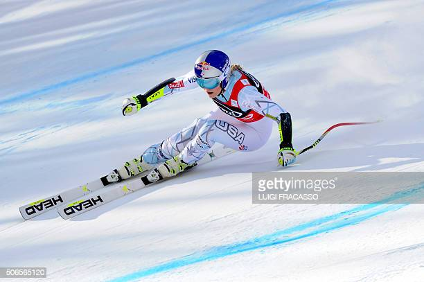 Winner US Lindsey Vonn competes in the FIS Alpine Skiing World Cup Women's SuperG on January 24 2016 in Cortina d'Ampezzo northern Italy American...