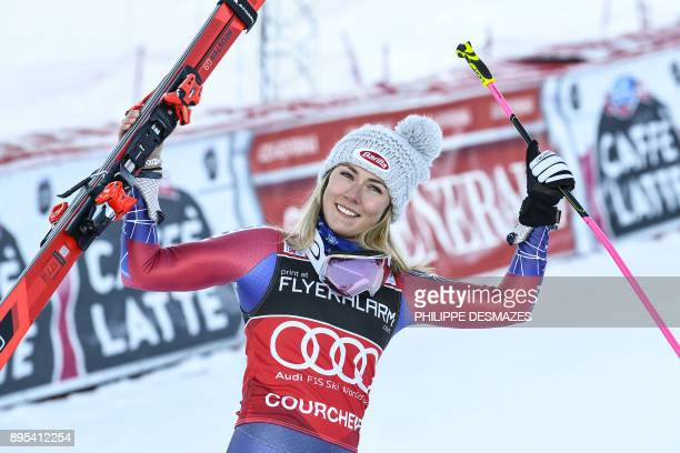 Winner US Mikaela Shiffrin celebrates after winning the FIS Alpine Women's World Cup Giant Slalom on December 19 2017 in Courchevel French Alps / AFP...