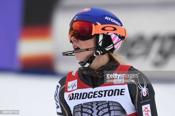 Winner US Mikaela Shiffrin reacts after the FIS World Cup Women's Slalom event in Ofterschwang, southern Germany, on March 10, 2018. / AFP PHOTO /...