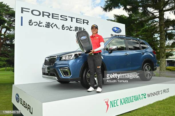 Winner Yuka Saso of Japan poses after the final round of the NEC Karuizawa 72 Golf Tournament at the Karuizawa 72 Golf Kita Course on August 16, 2020...