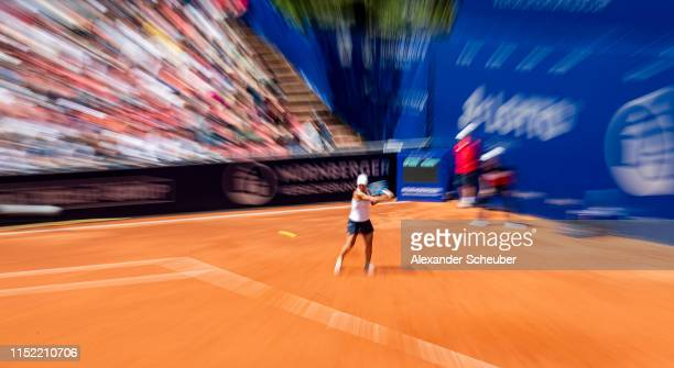 Winner Yulia Putintseva in action during the WTA Nuernberger Versicherungscup on May 25 2019 in Nuremberg Germany