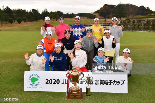 Winner Yuting Seki of China and players pose for photographs after the final round of the JLPGA Rookies Championship Kaga Electronics Cup at the...